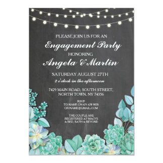 Engagement Party Chalk Floral Succulents Invite