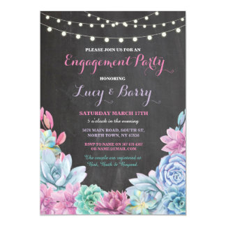 Engagement Party Chalkboard Floral Pink Invite