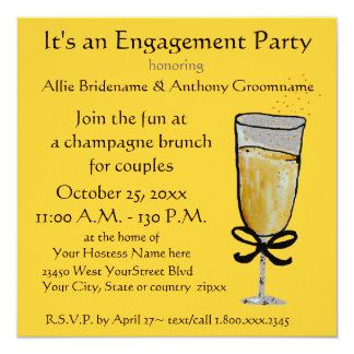 Engagement Party Champagne Toast Card