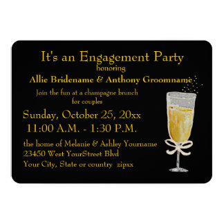 Engagement Party Champagne Toast peach ribbon Card