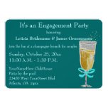 Engagement Party Champagne Toast peach ribbon 13 Cm X 18 Cm Invitation Card