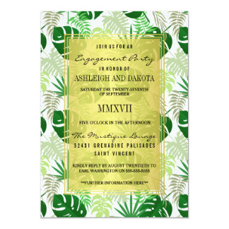 Engagement Party | Exotic Green Tropical Leaves Card