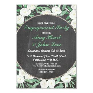 Engagement Party Floral Vintage Flower Mint Invite