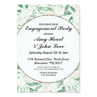 Engagement Party Floral Vintage White Leaf Invite