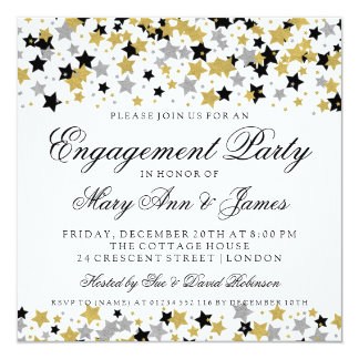 Engagement Party Gold Glitter Stars Confetti Card