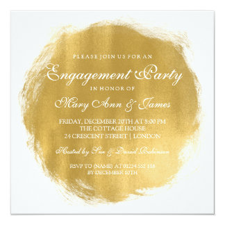 Engagement Party Gold Paint Look Card