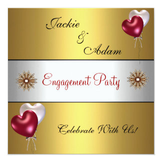 Engagement Party Gold Red White Love Balloons 13 Cm X 13 Cm Square Invitation Card