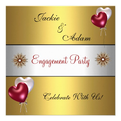 Engagement Party Gold Red White Love Balloons Personalized Announcements