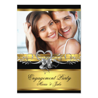 """Engagement Party Gold Silver Heart Photo 3 4.5"""" X 6.25"""" Invitation Card"""