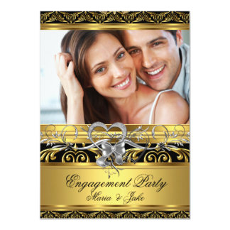 Engagement Party Gold Silver Heart Photo 4 4.5x6.25 Paper Invitation Card
