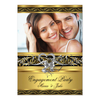Engagement Party Gold Silver Heart Photo 5 4.5x6.25 Paper Invitation Card