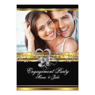 Engagement Party Gold Silver Photo 3 4.5x6.25 Paper Invitation Card