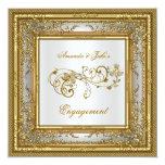 Engagement Party Gold White Damask Floral 13 Cm X 13 Cm Square Invitation Card
