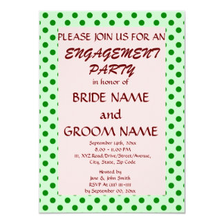 """Engagement Party-Green Polka Dots, Pink Background 4.5"""" X 6.25"""" Invitation Card"""