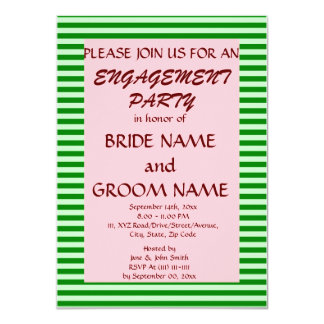 """Engagement Party - Green Stripes, Pink Background 4.5"""" X 6.25"""" Invitation Card"""