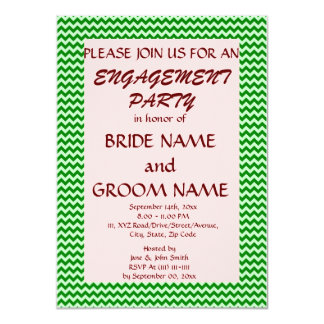 """Engagement Party - Green Zigzag, Pink Background 4.5"""" X 6.25"""" Invitation Card"""
