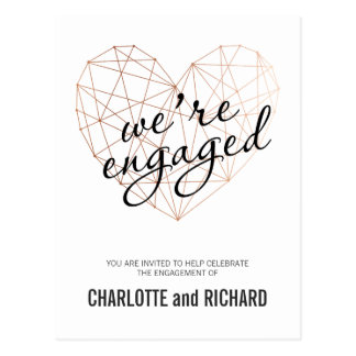 Engagement party invitation rose gold geometric postcard