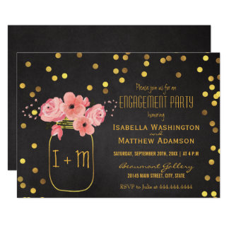 Engagement Party Mason Jar Confetti Chalkboard Card