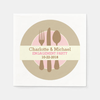Engagement Party Personalized Napkins Paper Napkin