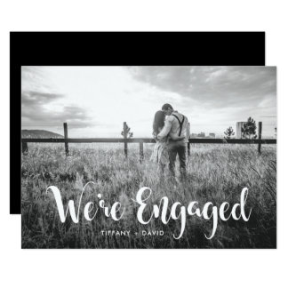 Engagement Party | Photo with Modern White Overlay Card