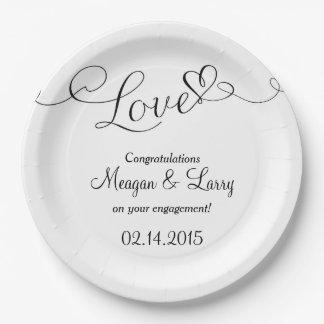 Engagement Party Plates - Love Script