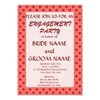 Engagement Party - Red Polka Dots, Pink Background Announcement