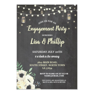 Engagement Party Rustic Fireflies Chalk Invite