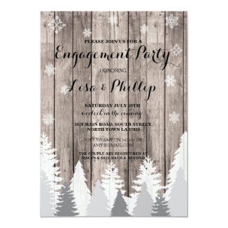 Engagement Party Rustic Shower Winter Trees Invite