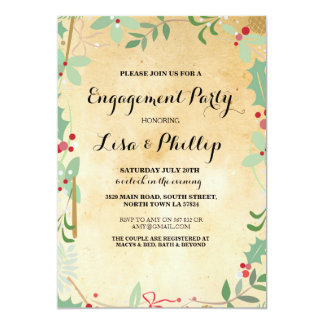 Engagement Party Rustic Shower Winter Xmas Invite