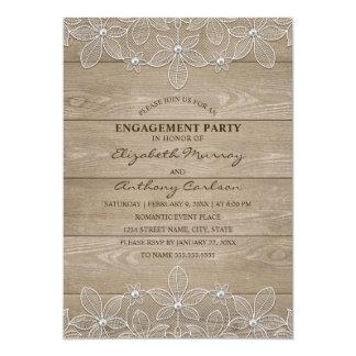 Engagement Party Rustic Wood Elegant Vintage Lace Card