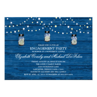 Engagement Party Rustic Wood Mason Jar and Lights Personalized Invites