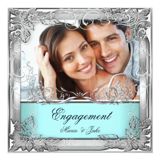 Engagement Party Teal White Silver Photo Invite