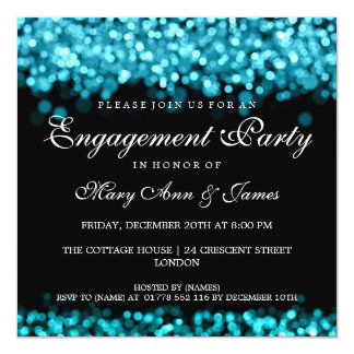 Engagement Party Turquoise Lights 13 Cm X 13 Cm Square Invitation Card