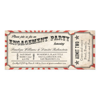 Engagement Party Vintage Ticket Invitations