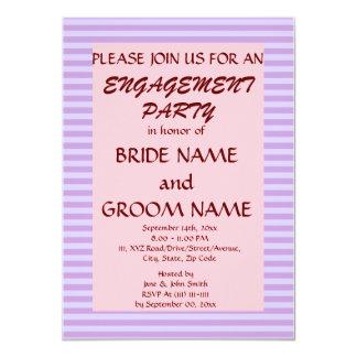 "Engagement Party - Violet Stripes, Pink Background 4.5"" X 6.25"" Invitation Card"