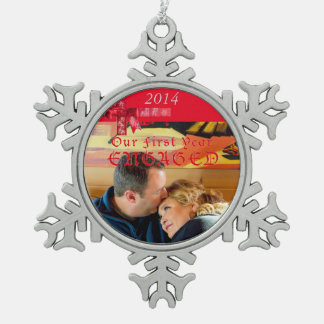 Engagement Photo Red Bow Ornament
