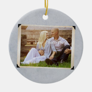 Engagement Photo Rustic Vintage Wedding Ceramic Ornament