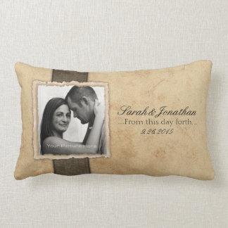 Engagement Photo Rustic Vintage Wedding Lumbar Cushion