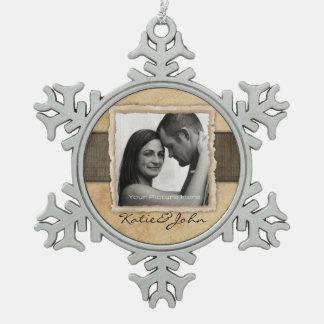 Engagement Photo Rustic Vintage Wedding Pewter Snowflake Decoration