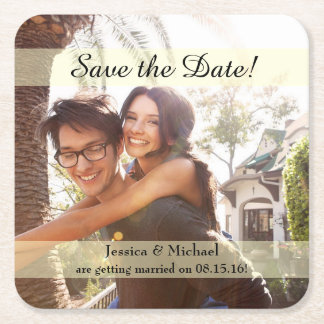 Engagement Photo Wedding Save the Date Square Paper Coaster