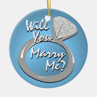 "Engagement Ring ""Marry Me"" Round Ceramic Decoration"
