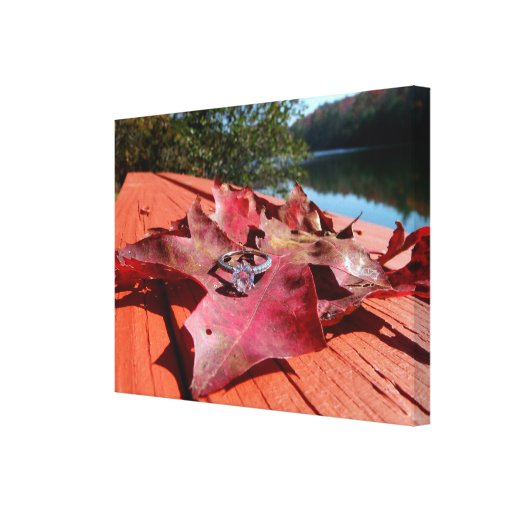 Engagement Ring on an Autumn Leaf on Canvas Stretched Canvas Prints