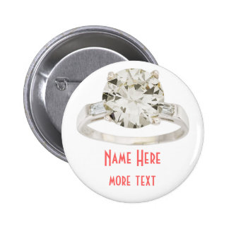 Engagement Ring Wedding Party Rehearsal Name Tag 6 Cm Round Badge
