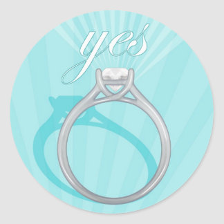 """Engagement Ring """"Yes"""" - blue Round Stickers"""