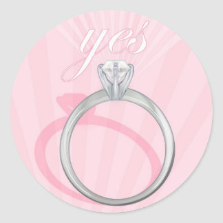 "Engagement Ring ""Yes"" - pink Round Sticker"