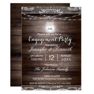 Engagement Rustic Country w/ Lace & Mason Jar Card
