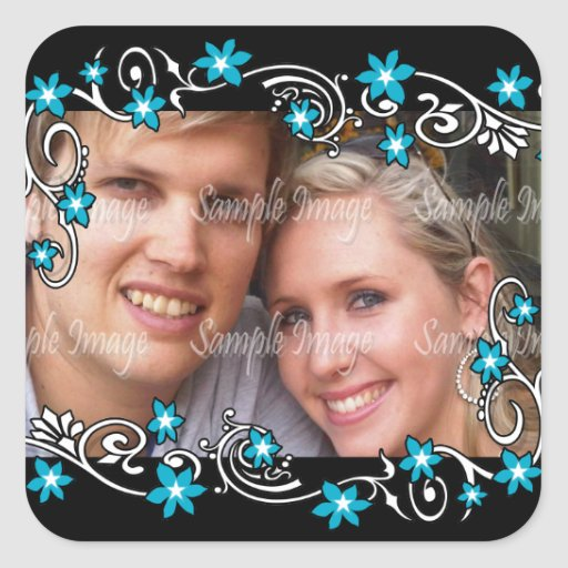 Engagement seals photo PERSONALIZE Square Stickers