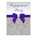 Engagement Silver Sequins Deep Royal Purple Bow 13 Cm X 18 Cm Invitation Card