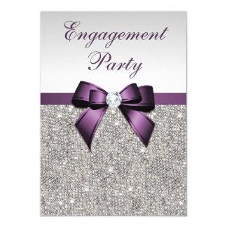 Engagement Silver Sequins Violet Bow 13 Cm X 18 Cm Invitation Card