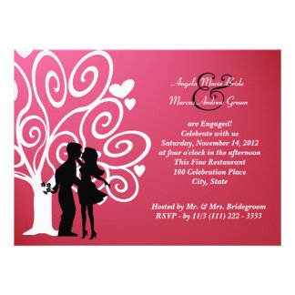 Engagement Wedding Silhouette Personalized Invitations
